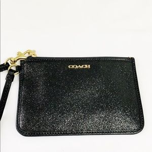 Coach black wristlet with gold hardware NEW